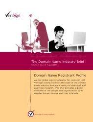 Domain Name Registrant Profile The Domain Name ... - VeriSign