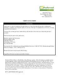 GRIEVANCE FORM - Medicare Plan