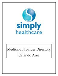Medicaid Provider Directory Orlando Area - Simply Healthcare Plans