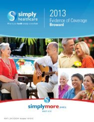 Evidence of Coverage 2013 - Simply Healthcare Plans