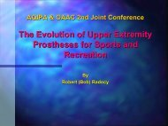 Options and Considerations for Activity Specific Prostheses