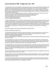 Lista de Genética 2º EM – Colégio São José - 2013