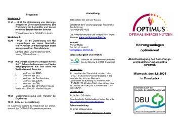 Tagungsprogramm - Optimus