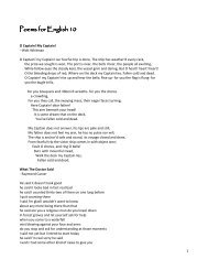 Poems for English 10 Poems for English 10