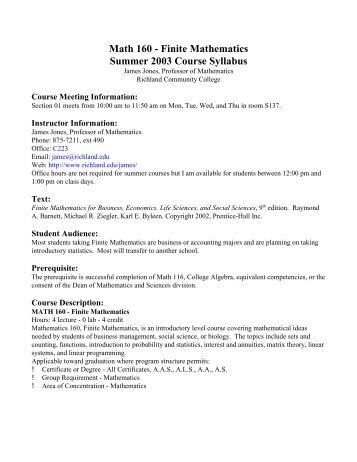 Math 160 - Finite Mathematics Summer 2003 Course Syllabus