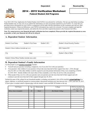 Verification Form for Dependent Students - Donnelly College