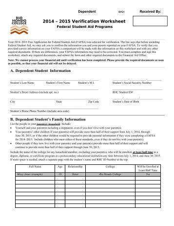 Worksheets Dependent Verification Worksheet dependent verification worksheet pdf 2014 2015 svg1