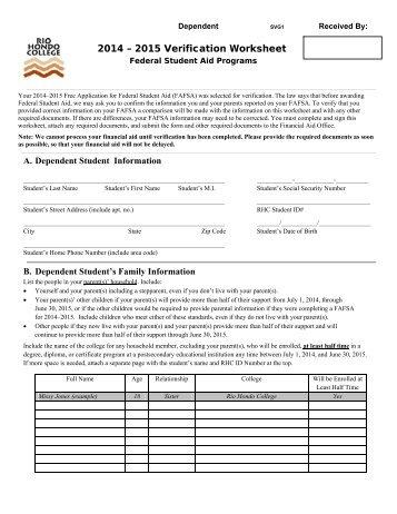2014 2015 dependent verification worksheet svg1 - Dependent Verification Worksheet