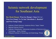 Seismic network development for Southeast Asia - Academia Sinica