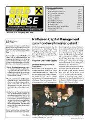 Raiffeisen Capital Management zum Fondsweltmeister gekürt*)