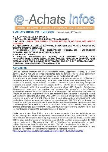 e-ACHATS INFOS n°9 - JUIN 2007 - nouvelle série, 5 AU ...