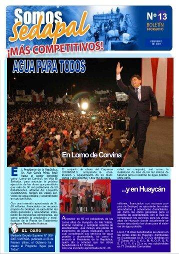 En Lomo de Corvina ...y en Huaycán - sedapal.com.pe