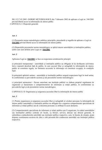 Norme de aplicare pentru Legea 544/2001