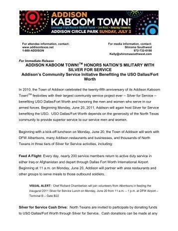 Addison Restaurants To Host Kaboom Town Addison Texas