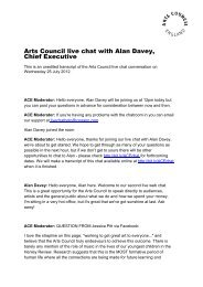 Arts Council live chat with Alan Davey, Chief ... - Arts Council England