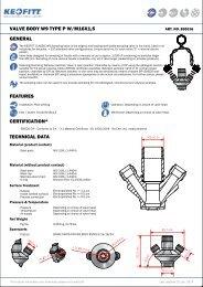 valve body w9 type pw/m16x1,5 general features ... - Keofitt