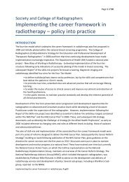 Implementing the career framework in radiotherapy - Society of ...