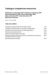 Catalogue compétences-ressources - Swissmem Berufsbildung
