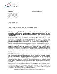 Stadt Arbon: Rechnung 2012 mit Gewinn statt Defizit Medienmitteilung