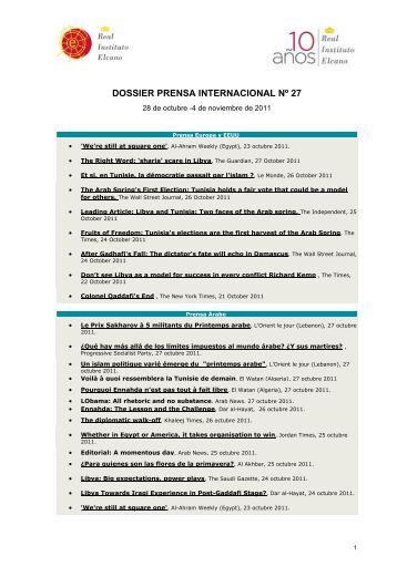 Dossier Prensa Internacional. N 27 - Real Instituto Elcano