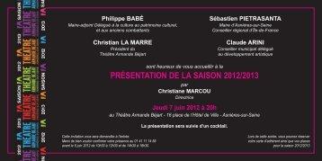 présentation de la saison 2012/2013 - Le Théâtre Armande Béjart