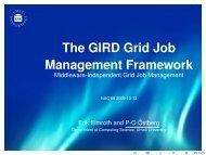 The GIRD Grid Job Management Framework - Middleware ... - NSC