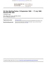 Alan Parkes - Biographical Memoirs of Fellows of the Royal Society