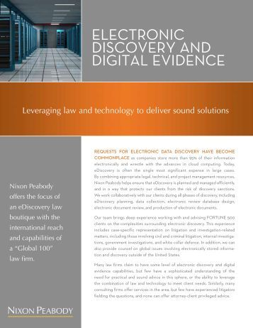 ElEctronic DiscovEry anD Digital EviDEncE - Nixon Peabody LLP