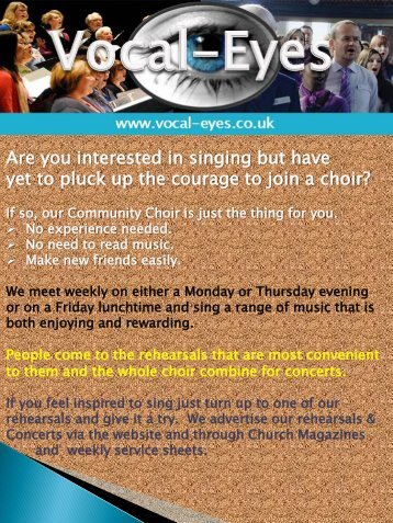 Are you interested in singing but have yet to pluck up the courage to ...
