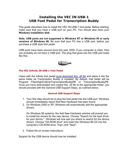 Installing the VEC IN-USB-1 USB Foot Pedal for Transcription Buddy
