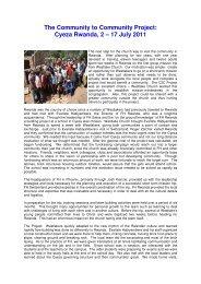 Cyeza Rwanda, 2 – 17 July 2011 - Westlake Church, Switzerland
