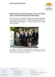MAGE SOLAR AG begrüßt Georgias Gouverneur Nathan Deal am ...