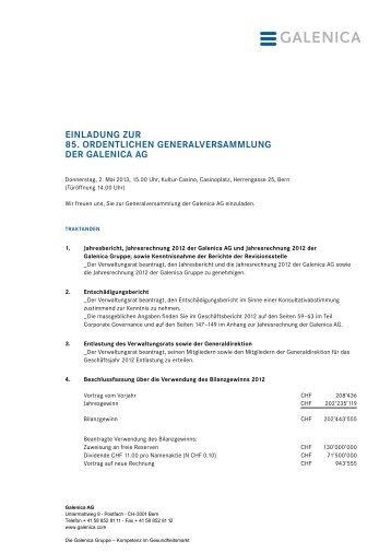einladung zur generalversammlung der  - demeter-feldhof, Einladung
