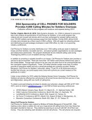 DSA Sponsorship of CELL PHONES FOR ... - AFCEA Belvoir