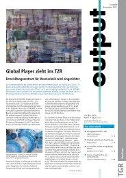 Global Player zieht ins TZR - Technologiezentrum Ruhr