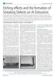 Etching effects and the formation of Streaking Defects on Al Extrusions