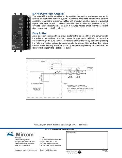 MA-485A Intercom Amplifie on