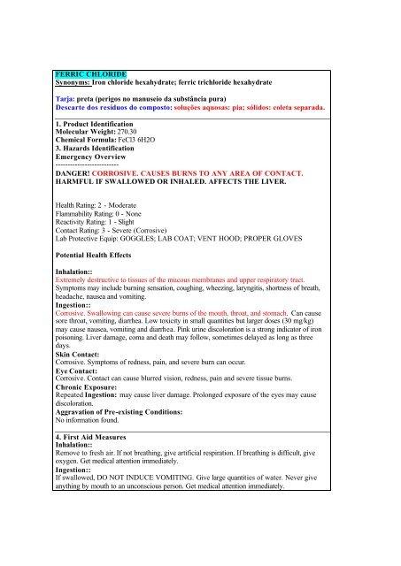 FERRIC CHLORIDE Synonyms: Iron chloride hexahydrate     - USP