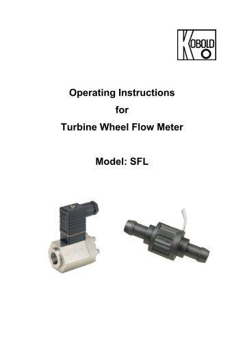 SFL Turbine Wheel Flow Meter User Instructions - Kobold