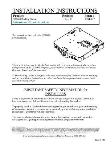 Installation Guide - Gamber Johnson