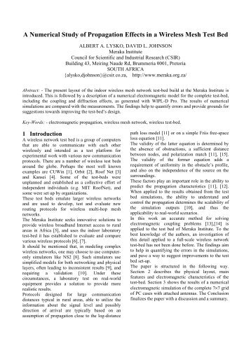 A Numerical Study of Propagation Effects in a ... - Wireless Africa