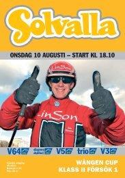ONSDAG 10 AUGUSTI – START KL 18.10 - Solvalla