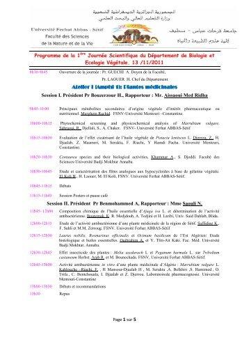 Session I. Président Pr Bouzerzour H., Rapporteur - Faculté des ...