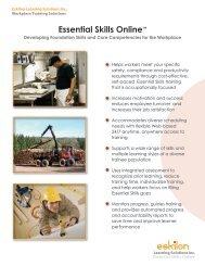 "Essential Skills Onlineâ""¢ - Eskilon Learning Solutions Inc"