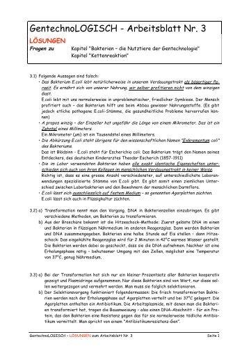 GentechnoLOGISCH - Arbeitsblatt Nr. 2 - Forschung für Leben