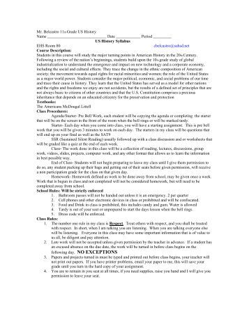US History Course Syllabus