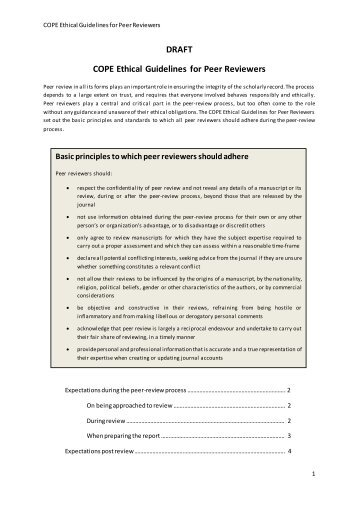 DRAFT COPE Ethical Guidelines for Peer Reviewers