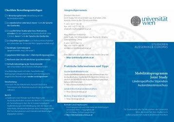 Mobilitätsprogramm Joint Study - Institut für Internationale Entwicklung