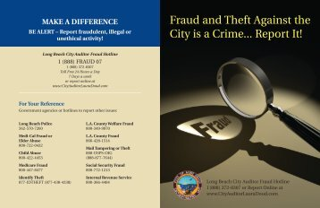 Fraud and Theft Against the City is a Crime... Report It! - Long Beach ...