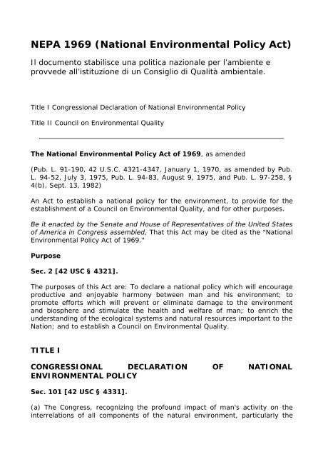 NEPA 1969 (National Environmental Policy Act) - Regione Molise